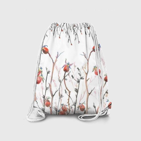 Рюкзак « Плоды красного шиповника,веточки,осень»