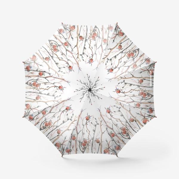 Зонт « Плоды красного шиповника,веточки,осень»