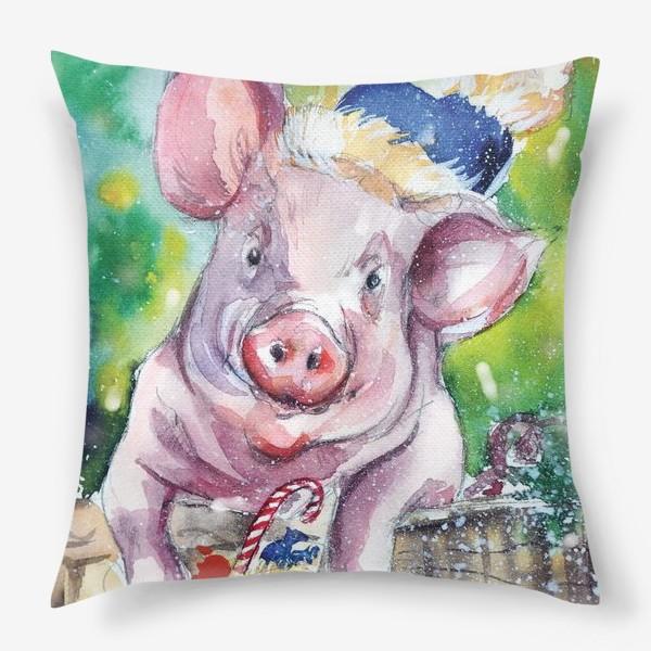 Подушка «Свинка в Новый год»