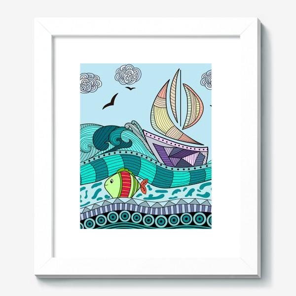 Картина «Абстрактное море с кораблем и рыбкой»