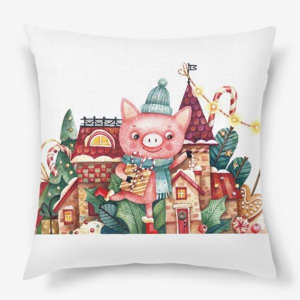 Подушка «Поросенок в снежном городе»