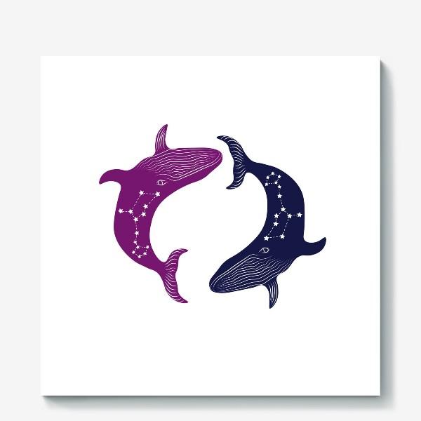 Холст «ying yang whales»