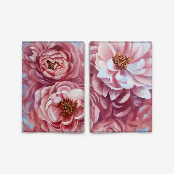 Обложка для паспорта «Вихрь розовых пионов.»