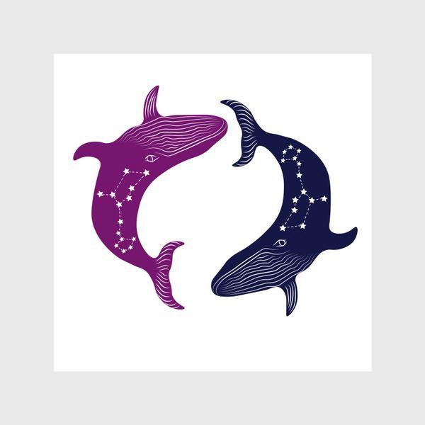 Шторы «ying yang whales»