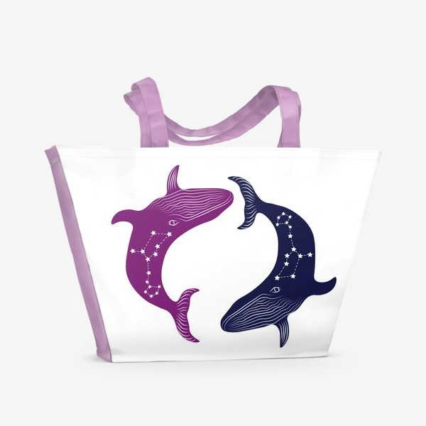 Пляжная сумка «ying yang whales»