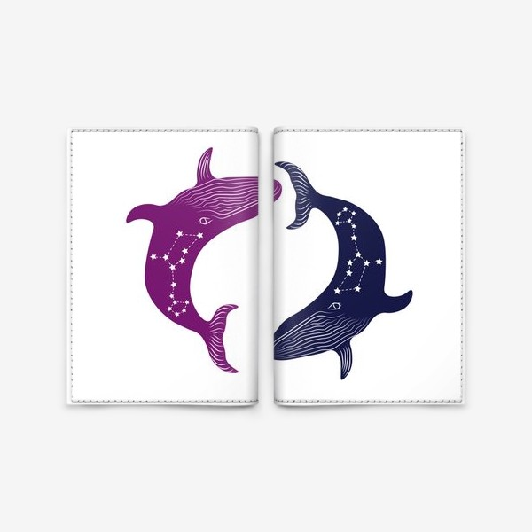 Обложка для паспорта «ying yang whales»
