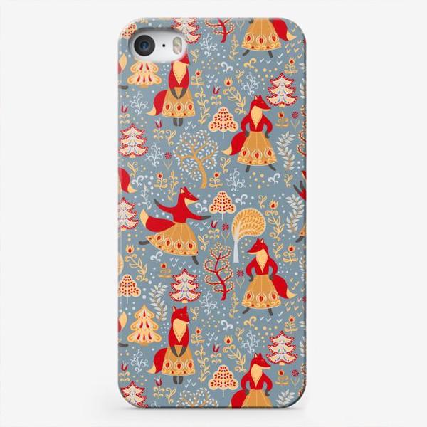 Чехол iPhone «Танцующие лисички в зимнем лесу. »