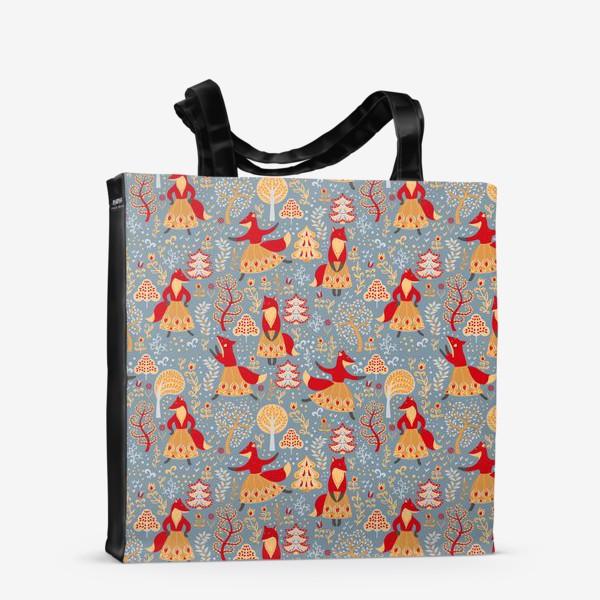 Сумка-шоппер «Танцующие лисички в зимнем лесу. »
