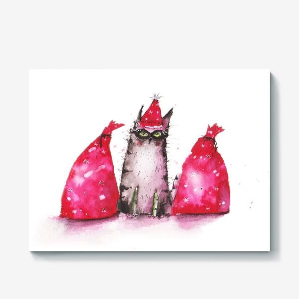 Холст «Новогодний кот»