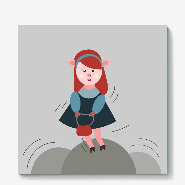 Холст «Рыжая свинка в платье»