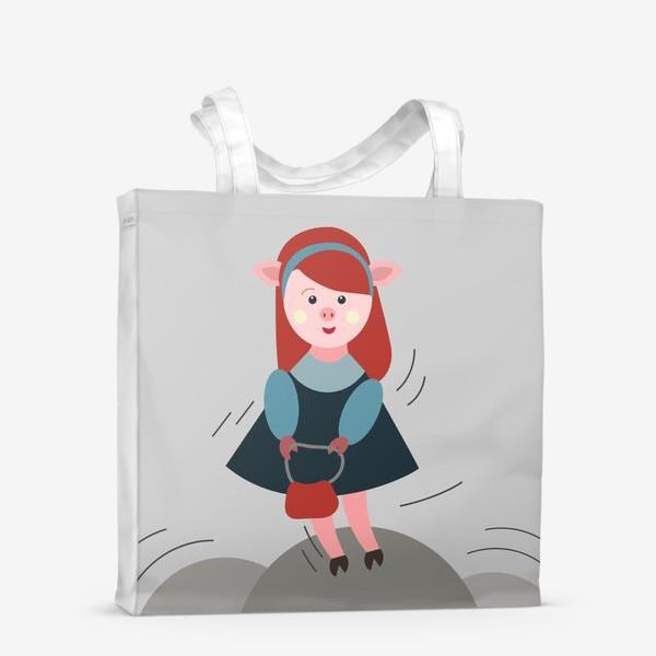 Сумка-шоппер «Рыжая свинка в платье»
