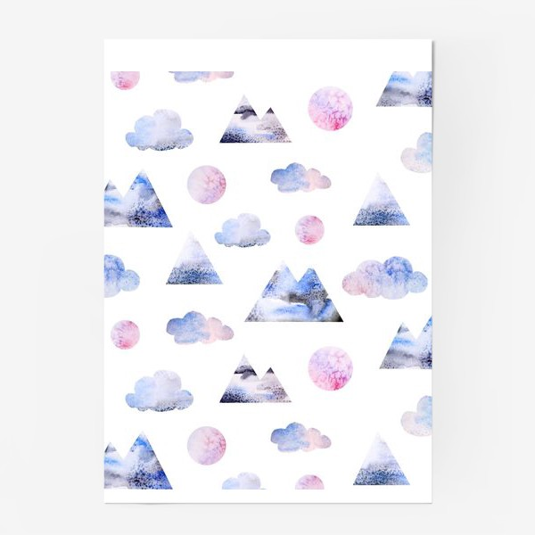 Постер «Паттерн Горы, облака, луна»
