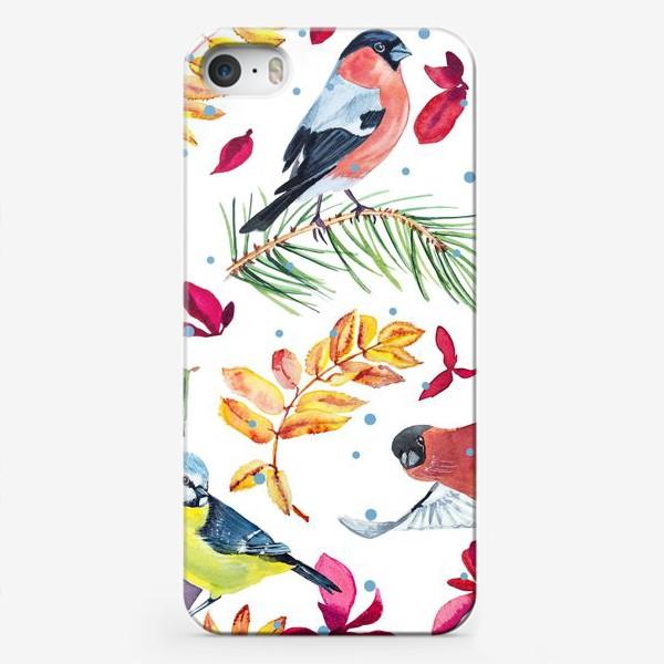 Чехол iPhone «Синица, снегири, кардинал с рябиной узор»