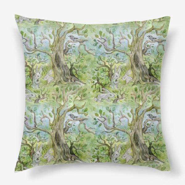 Подушка «Лес. Зайцы в лесу»