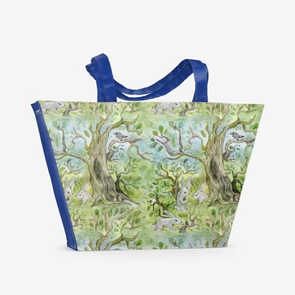 Пляжная сумка «Лес. Зайцы в лесу»