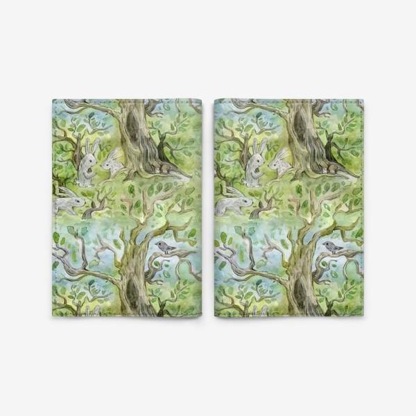 Обложка для паспорта «Лес. Зайцы в лесу»