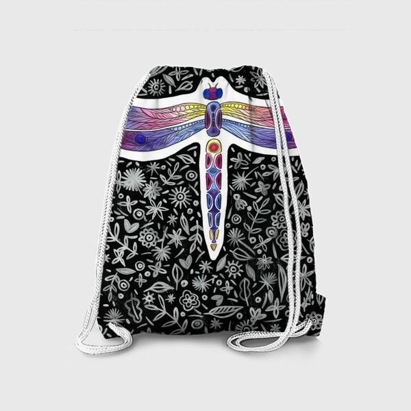 Рюкзак «Стрекоза на черном фоне»