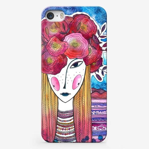 Чехол iPhone «Девушка с пионами»