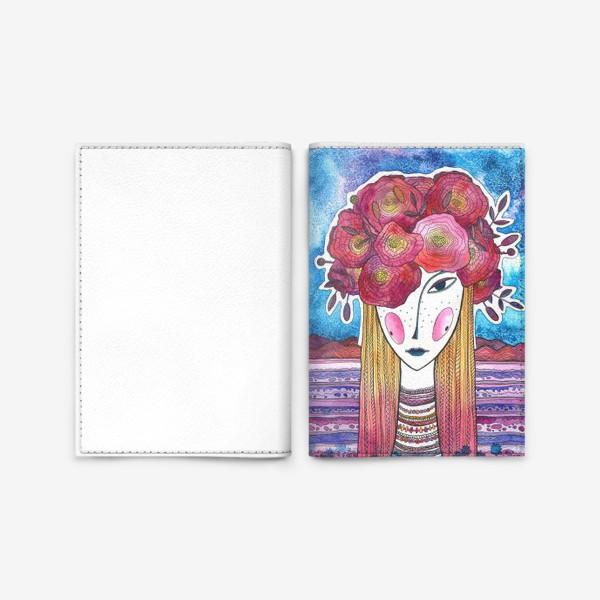 Обложка для паспорта «Девушка с пионами»
