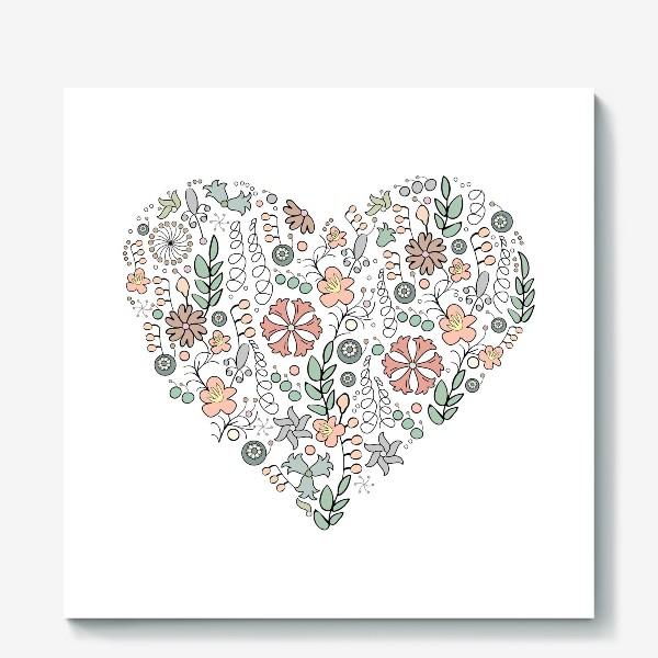 Холст «Сердце из цветов»