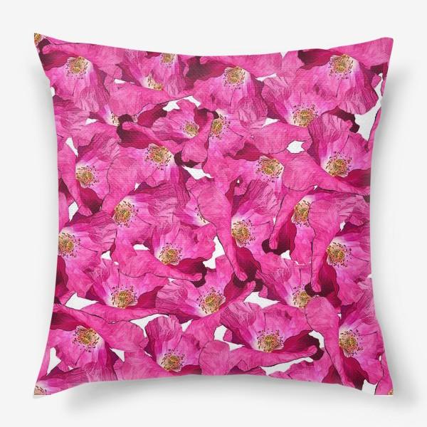 Подушка «Цветочный паттерн.Маки.»