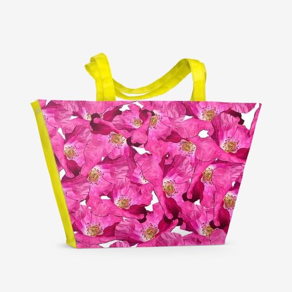 Пляжная сумка «Цветочный паттерн.Маки.»