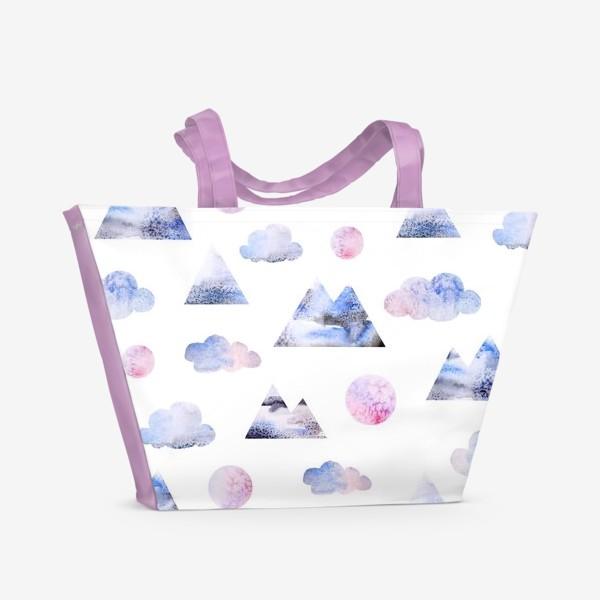 Пляжная сумка «Паттерн Горы, облака, луна»