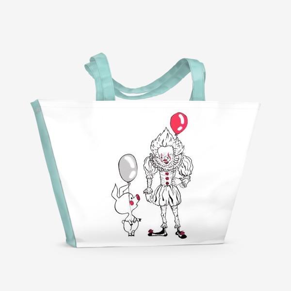 Пляжная сумка «Не держи зла, держи шарик. Пеннивайз и Пятачок. Подарок любителю Стивена Кинга и Винни Пуха.»