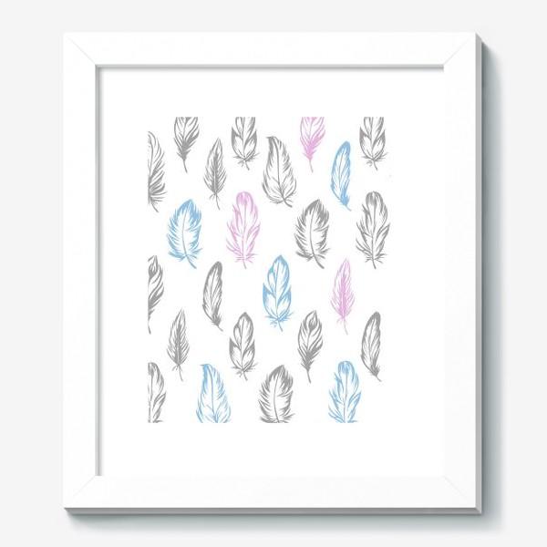 Картина «Серые, голубые, розовые перышки на белом бесшовный паттерн»