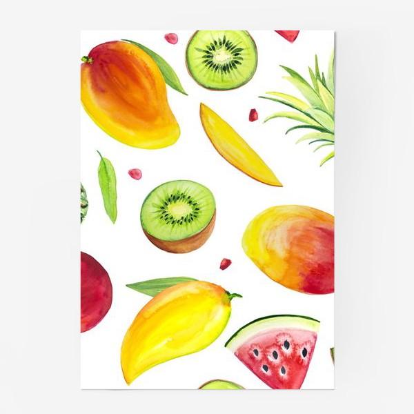 Постер «Узор из фруктов акварель»