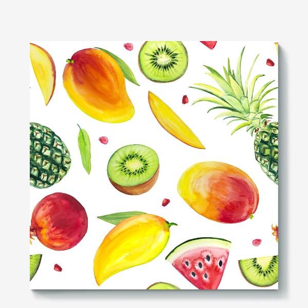 Холст «Узор из фруктов акварель»