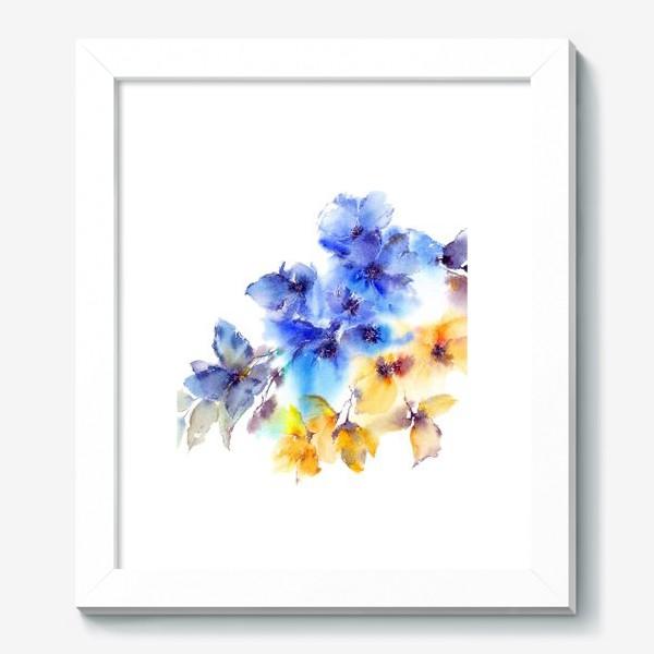 Картина «Голубые и желтые цветы»
