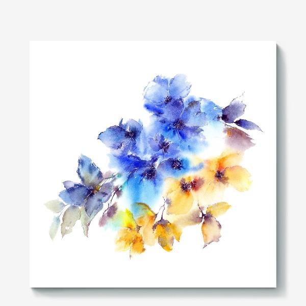 Холст «Голубые и желтые цветы»