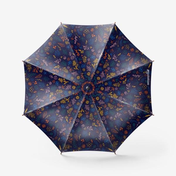 Зонт «растительный узор на темно-синем фоне»