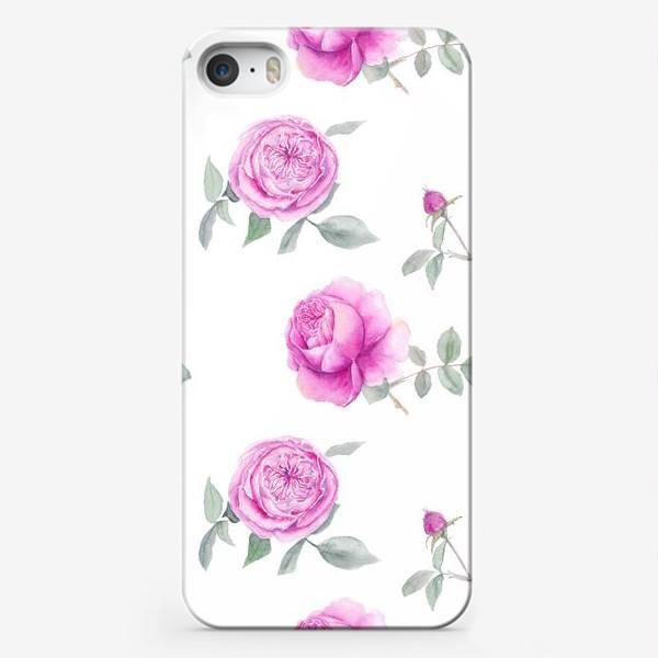 Чехол iPhone «Розовые английские розы, летний акварельный цветочный принт на белом фоне»