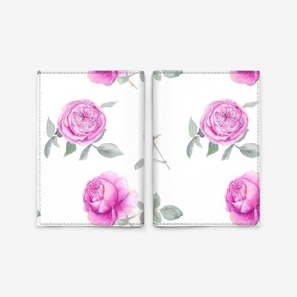 Обложка для паспорта «Розовые английские розы, летний акварельный цветочный принт на белом фоне»