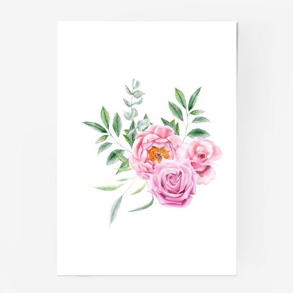 Постер «Акварельный букет с розами»