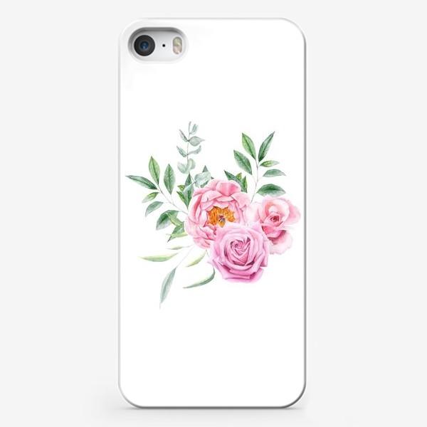 Чехол iPhone «Акварельный букет с розами»