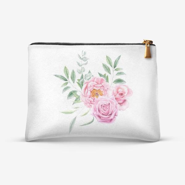 Косметичка «Акварельный букет с розами»
