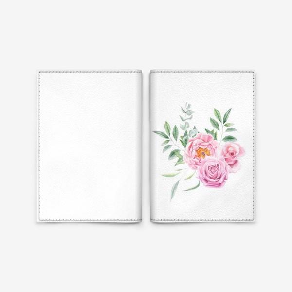 Обложка для паспорта «Акварельный букет с розами»