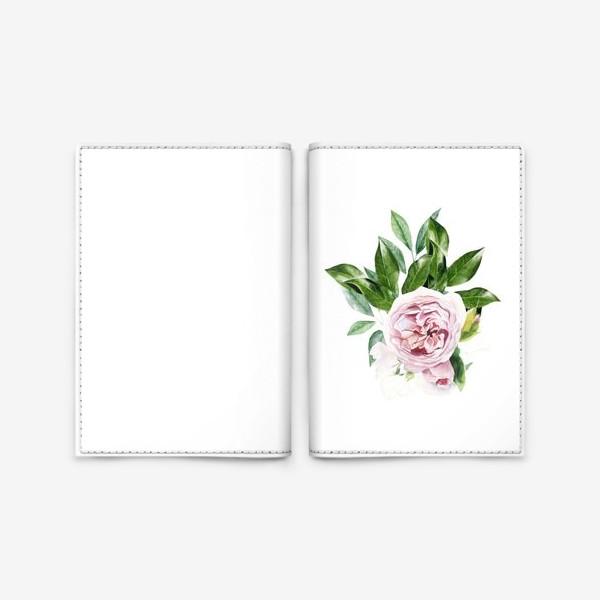 Обложка для паспорта «Акварельная роза Остин»