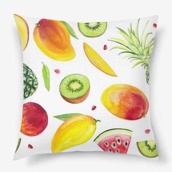 Подушка «Узор из фруктов акварель»