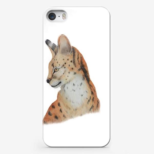 """Чехол iPhone «Дикая кошка """"Сервал""""»"""