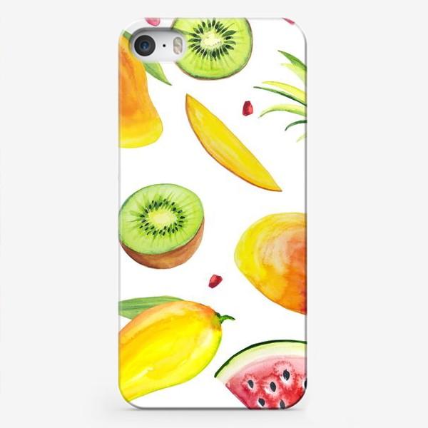 Чехол iPhone «Узор из фруктов акварель»