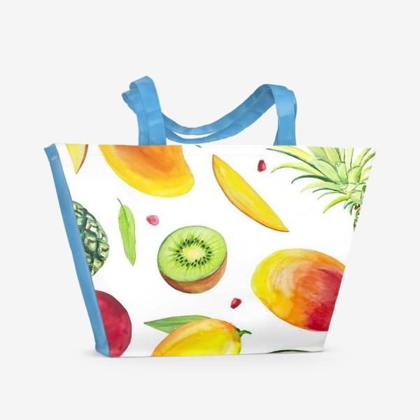 Пляжная сумка «Узор из фруктов акварель»