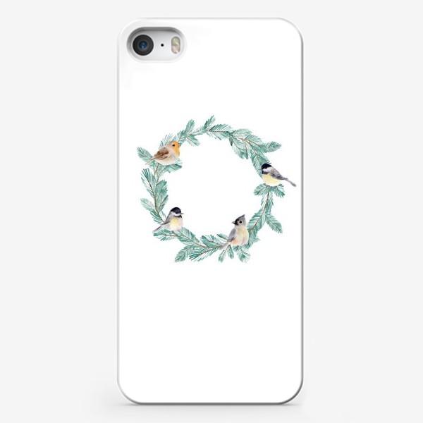 Чехол iPhone «Зимний венок с птицами»