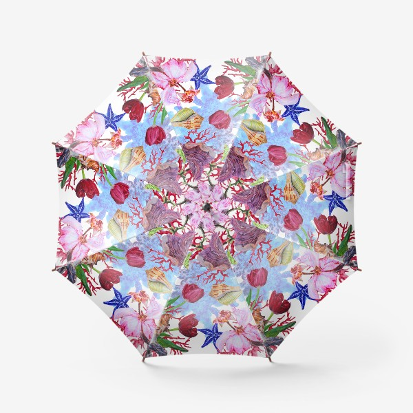 Зонт «Кораллы, ракушки и цветы»