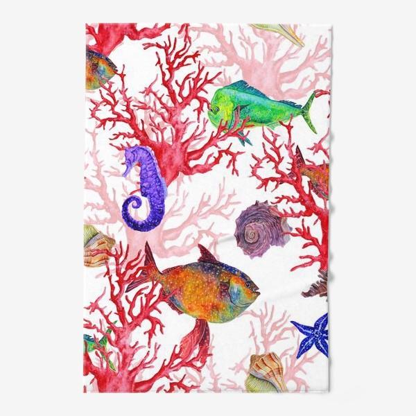 Полотенце «Морские жители, кораллы и ракушки»