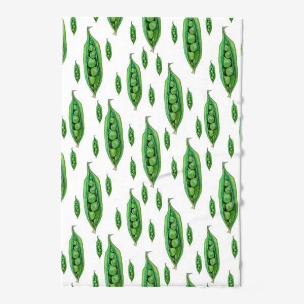Полотенце «Зеленый горошек в стручках, акварельные овощи»