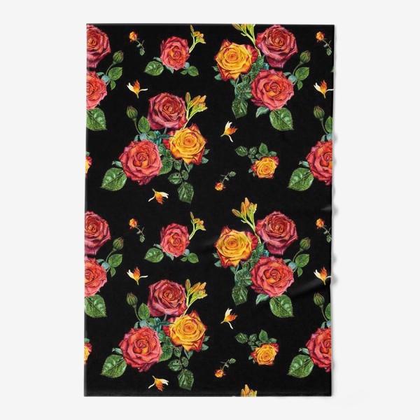 Полотенце «Красные и оранжевые розы на черном»